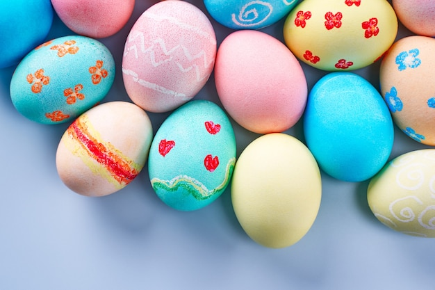 Colorful easter eggs dyed by colored water with beautiful patter