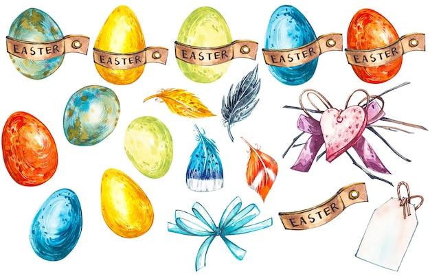 흰색 바탕에 다채로운 부활절 달걀 그림
