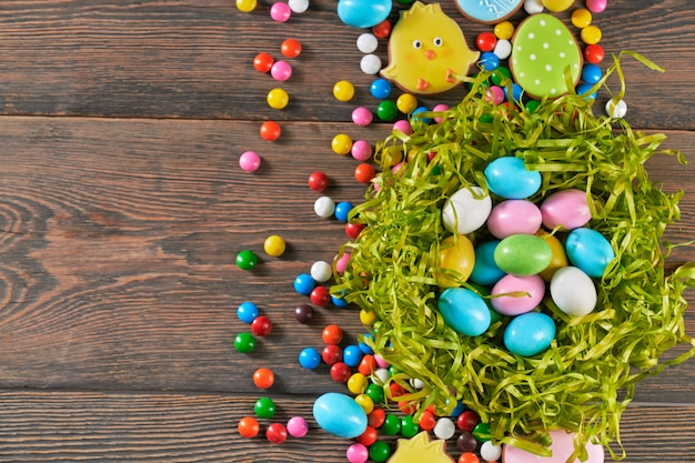 Colorful easter eggs in nest.