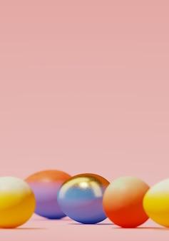 분홍색 배경에 다채로운 부활절 달걀입니다. 3d 렌더링 그림입니다.