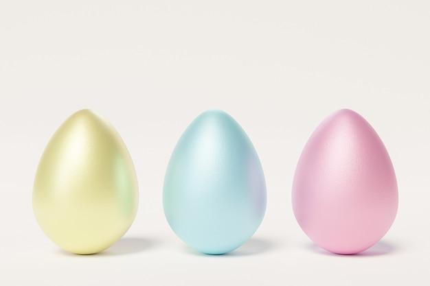 Красочные пасхальные яйца на белой стене, 3d визуализация иллюстрации