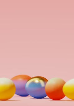 Colorful easter eggs on pink background. 3d rendering illustration.