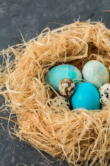 Colorful easter eggs in straw nest on a gray table