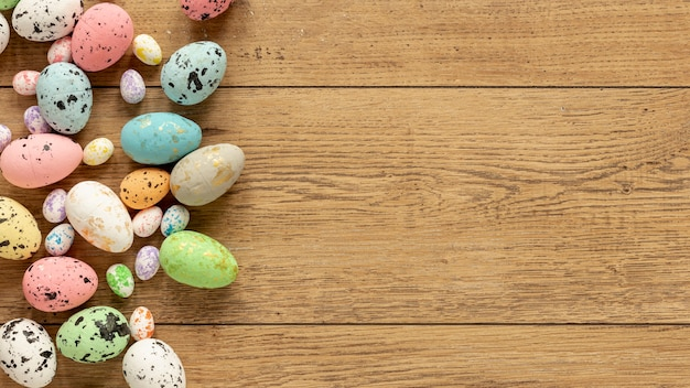 Colorful easter eggs with copy-space