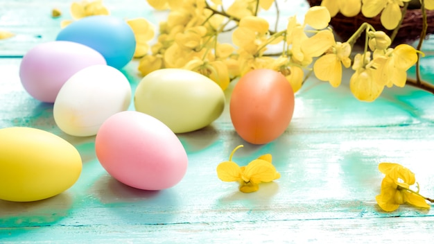 Colorful easter eggs with flower