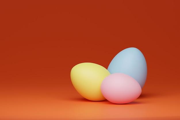 オレンジ色の背景にカラフルな卵、3dレンダリング
