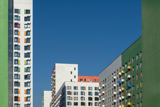 Colorful elements in the design of the buildings
