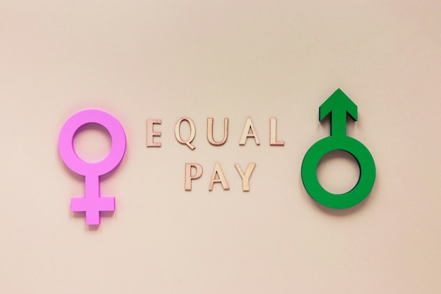 Colorful equal pay symbol concept