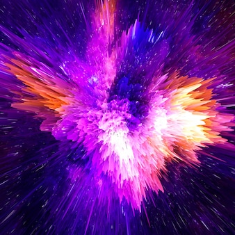 Colorful explosion 3d render.