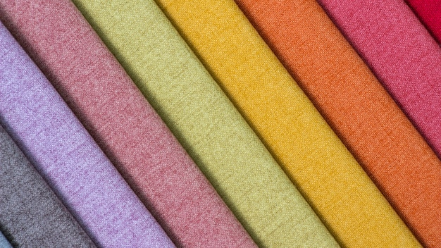 Colorful fabric surface, a stack of colorful fabric.