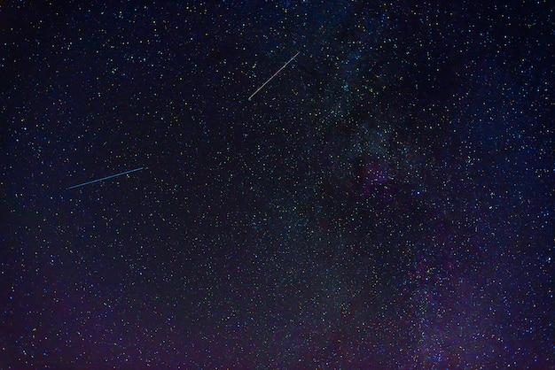Colorful fantastic starry sky with many constellations with stars, nebulae, galaxies at night. scientific astrophotography of the cosmos and the universe