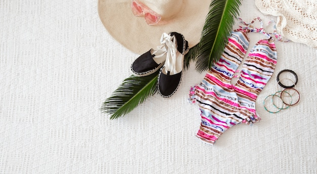 Colorful fashion women's summer clothing flat lay.