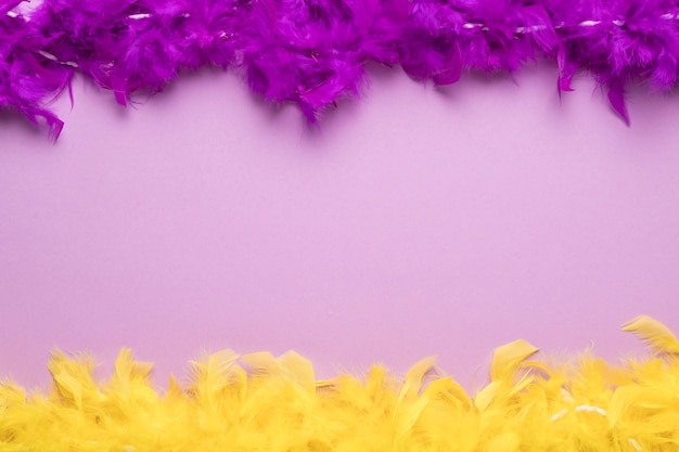 Colorful feather boas on purple background with copy space