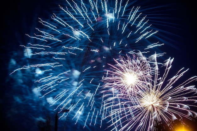 Colorful fireworks on background night sky. the explosions of the salute at festival