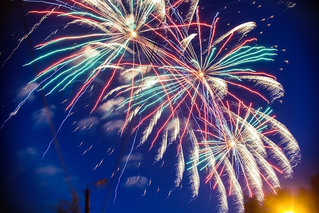 Colorful fireworks on background night sky. the explosions of the salute from the pyrotechnics