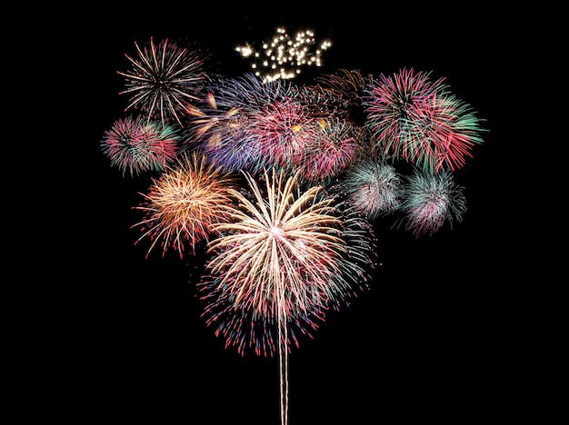 Colorful fireworks on black, fireworks festival in new year concept
