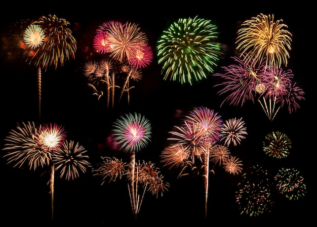 Colorful fireworks for celebrations on black background