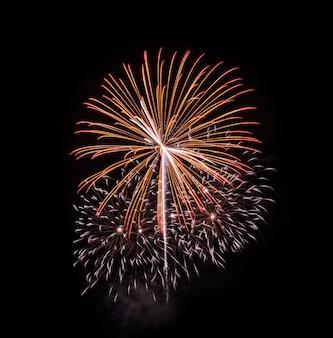 Красочный фейерверк взрывается в ночном небе