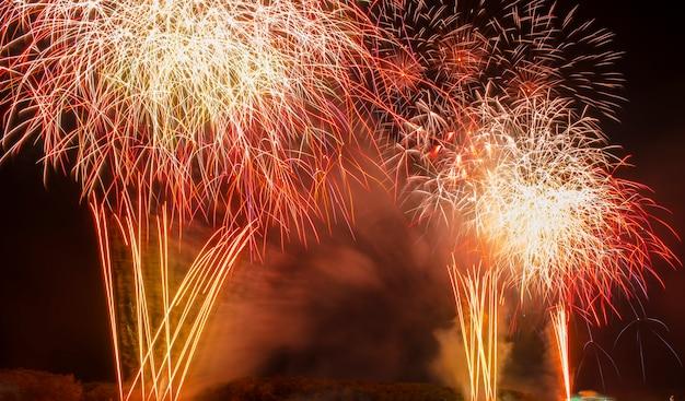 カラフルな花火。花火は、娯楽目的で使用される爆発性花火装置のクラスです。低照度、ソフトフォーカス、浅い被写界深度、わずかなモーションブラーによる目に見えるノイズ