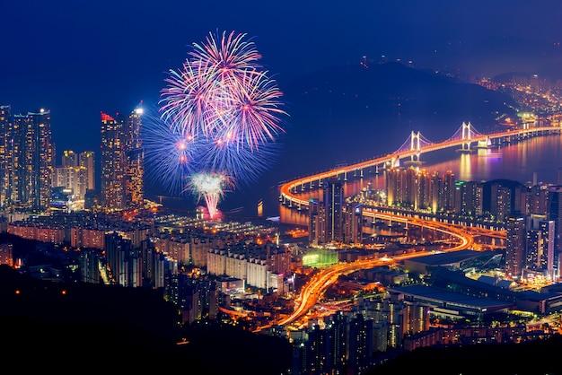 Colorful fireworks and gwangan bridge in busan city , south korea.