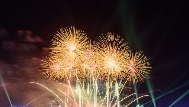 Colorful fireworks at night light up the sky with dazzling display.