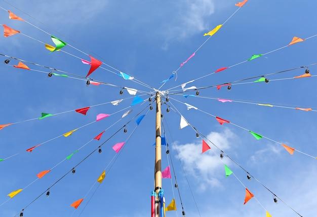Colorful flags in the thai temple fair, thailand