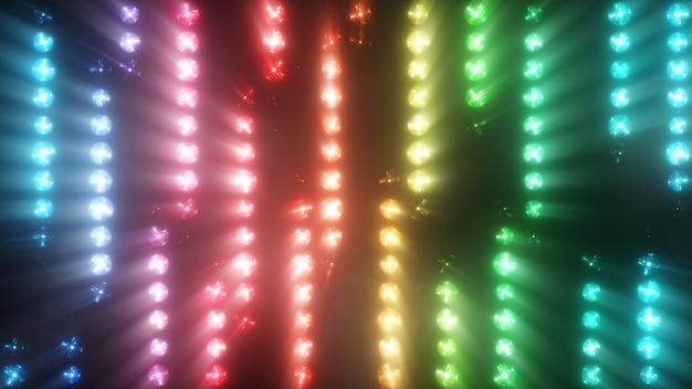 Красочная вспышка разноцветных прожекторов лампочек в текстуре снизу вверх с дымом. 3d иллюстрация