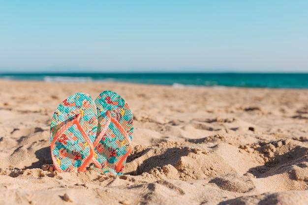 모래에 화려한 슬리퍼 프리미엄 사진