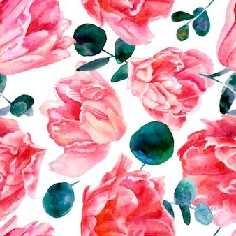Красочный цветочный узор, розовые тюльпаны на белом фоне. акварельная живопись