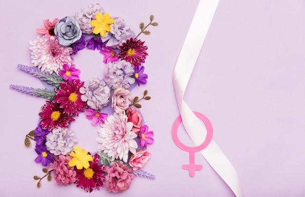 여성의 날을위한 다채로운 꽃 상징