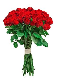 흰색 배경에 고립 된 빨간 장미에서 화려한 꽃 꽃다발.