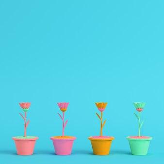 明るい青の鍋に色とりどりの花