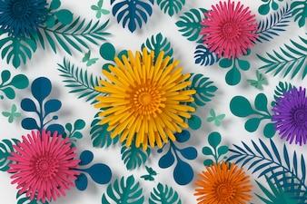カラフルな花の紙のスタイル、紙の工芸の花、蝶の紙