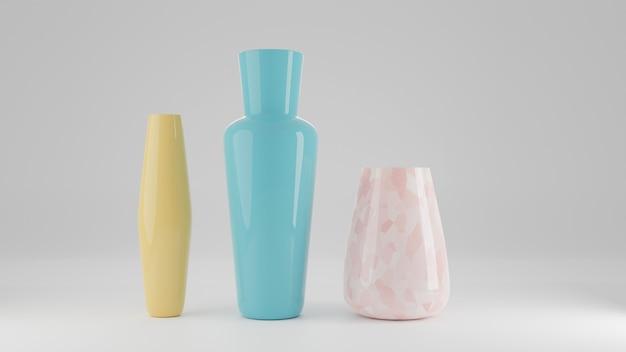 흰색 배경에 격리된 다채로운 꽃병과 마시는 유리, 세라믹 병 세트, 3d 렌더링