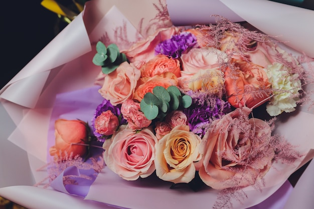Colorful flowers bouquet. roses. tulips. birthday, easter, mothers day, valentines day, greetings, congratulations.