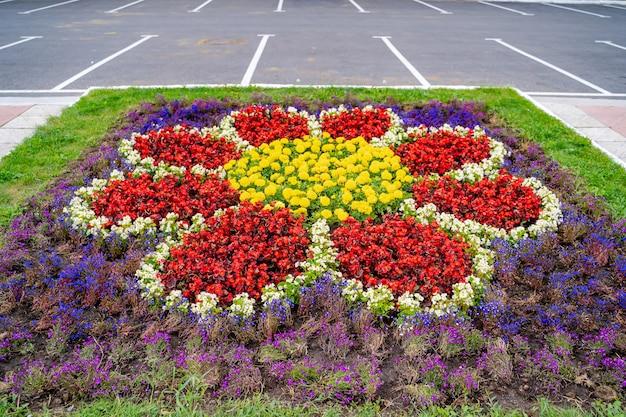 Разноцветные цветы в саду. обрезанное фото. летний пейзаж. розовые, желто-белые цветы и зеленая трава.