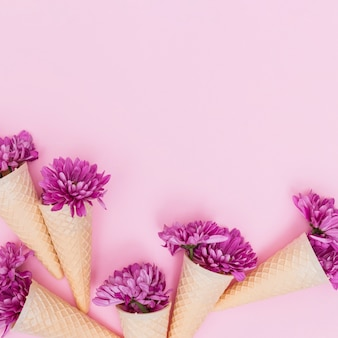 Colorful flowers in waffle cones