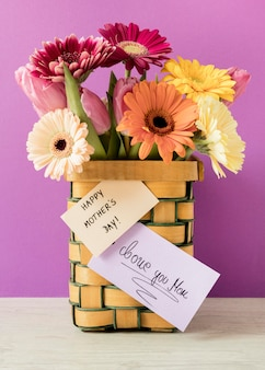 Colorful flowers with card