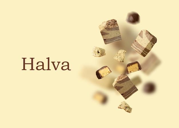 맛있는 동부 과자와 함께 공중에 떠 있는 할바 초콜릿으로 덮인 과자 카드에 다채로운 비행