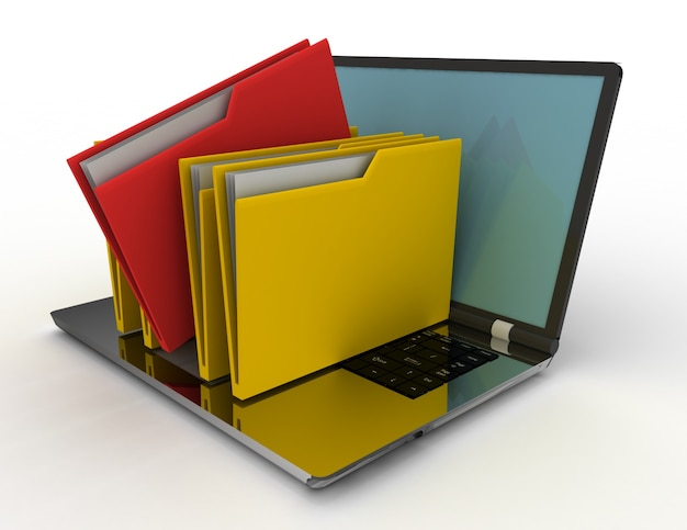 Colorful folders isolated over white. 3d rendered illustration
