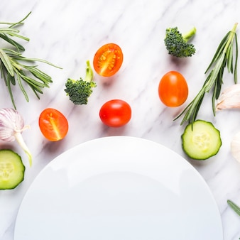 Colorful food composition with healthy ingredients