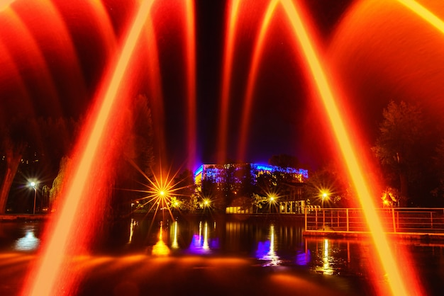 Colorful fountains in city park at night time