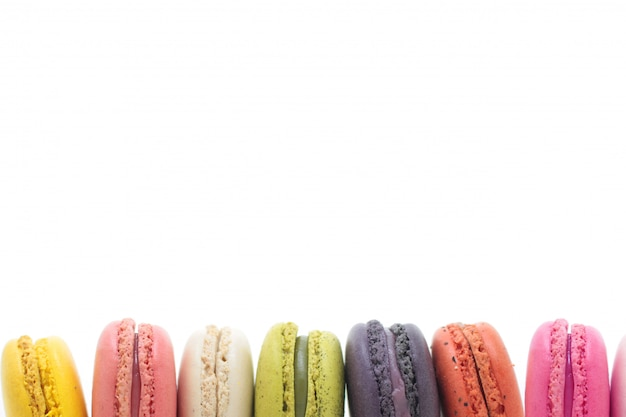 Colorful french macaron on the white background