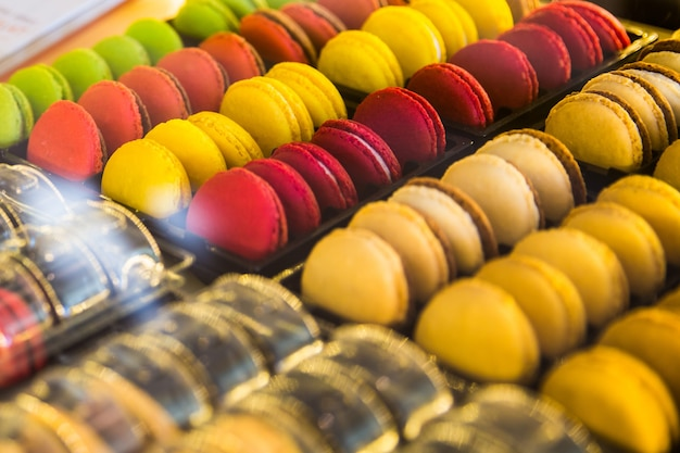 Colorful french sweets macarons