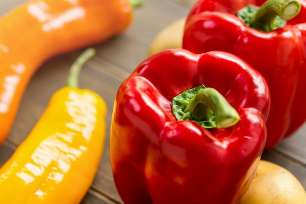 Colorful fresh capsicums and chillis