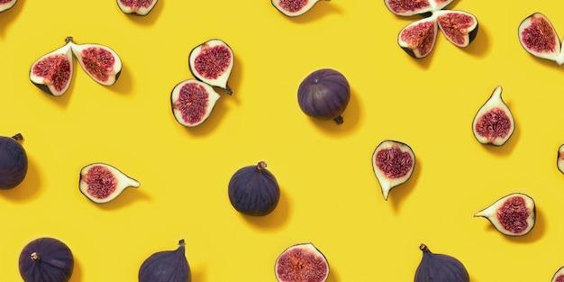明るい黄色、全体とスライスしたイチジクのカラフルな新鮮なイチジクの果実のパターン。