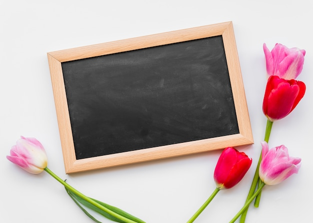 Colorful fresh flowers on stems with chalkboard