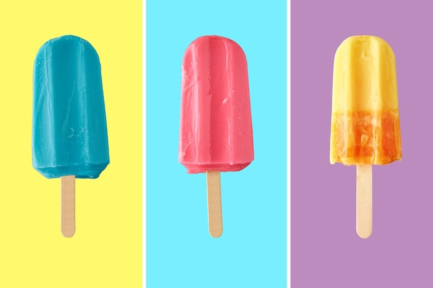 Colorful frozen ice cream on color background