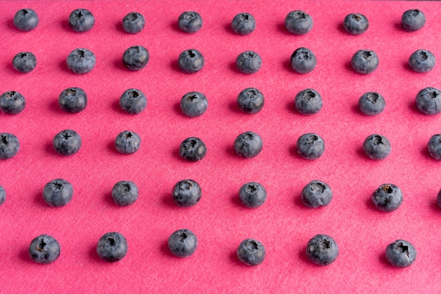 Colorful fruit pattern of blueberries. top view. flat lay