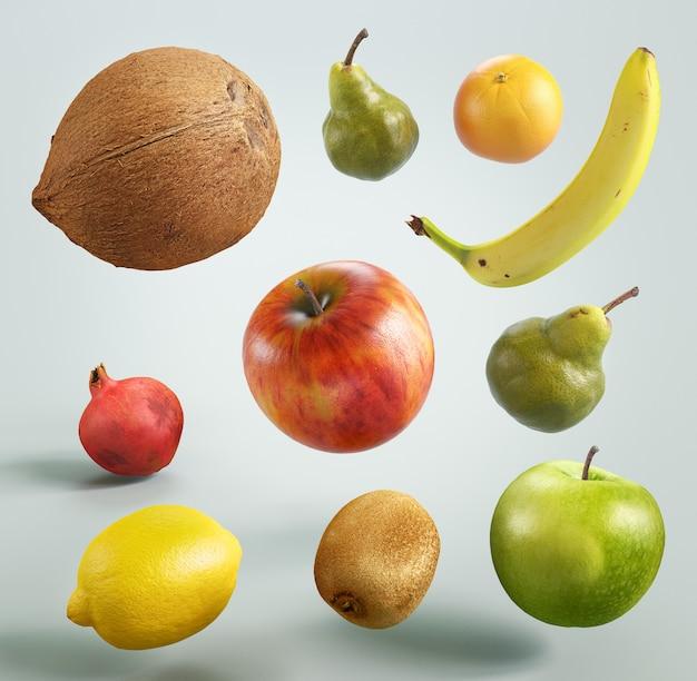 白い背景の上のカラフルな果物、3dレンダリングイラスト